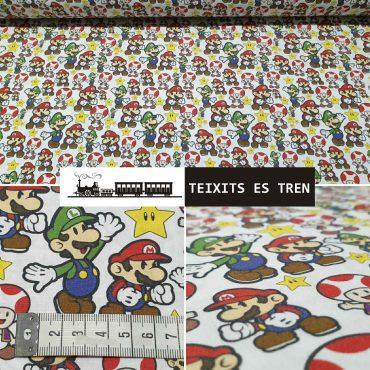 Super Mario Bross Algodón 100% ref. 1087 Mario Bros
